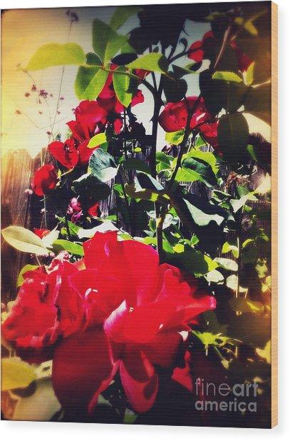 Red Roses Wood Print by Leslie Hunziker