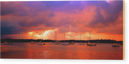 Red Sky At Night - Sailors Delight Wood Print