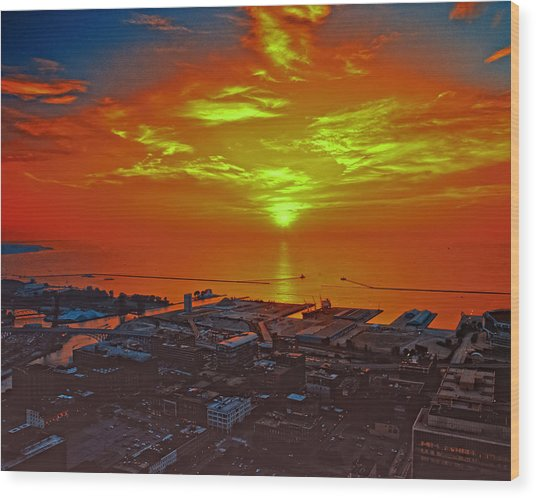 Red Sky At Night A Sailors Delight Wood Print