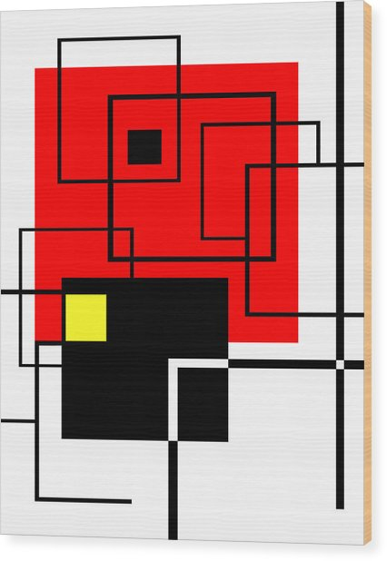 Red Square A La Mondrian Wood Print