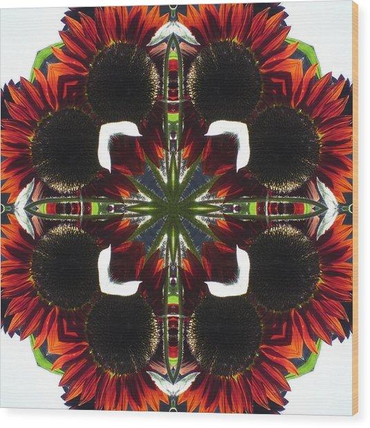 Red Sunflowers Wood Print
