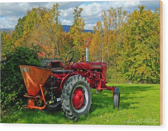 Red Tractor And Green Grass Wood Print