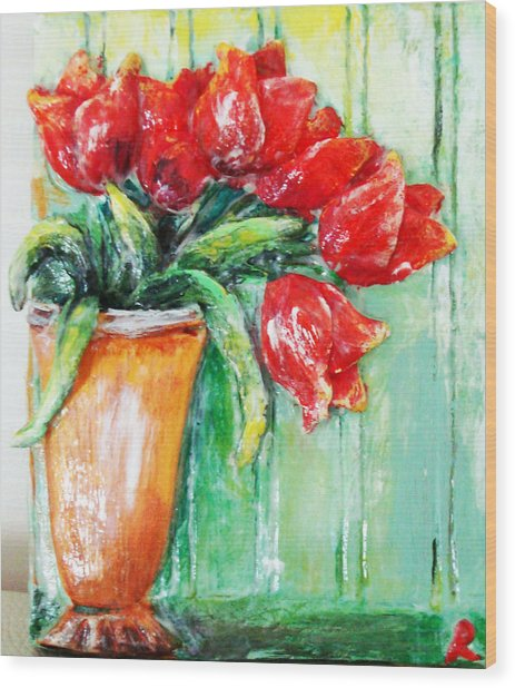 Red Tulips In Vase           Wood Print