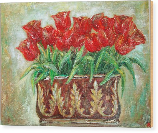 Red Tulips On The Wall Wood Print