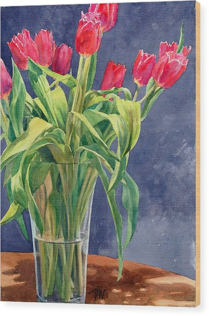 Red Tulips Wood Print by Peter Sit