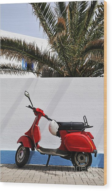 Red Vespa By Wall Wood Print by Sami Sarkis