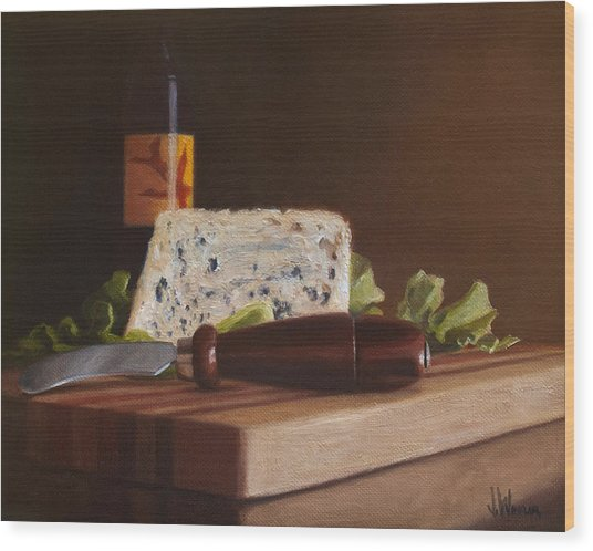 Red Wine And Bleu Cheese Wood Print