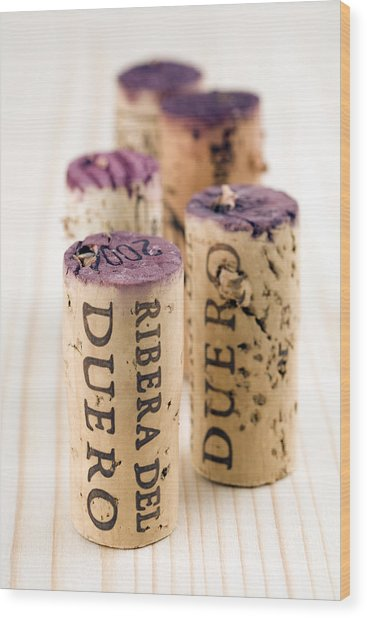 Red Wine Corks From Ribera Del Duero Wood Print by Frank Tschakert
