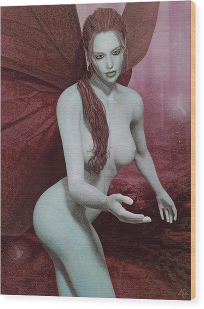Red Winged Fae Wood Print
