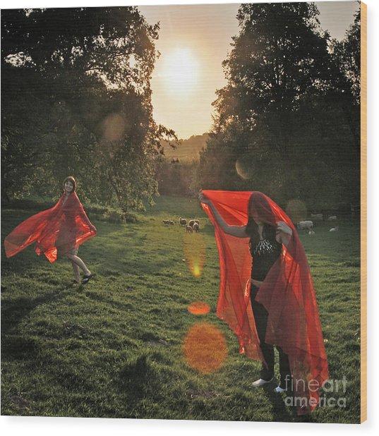 Red Witches Dance Wood Print by Angel Ciesniarska