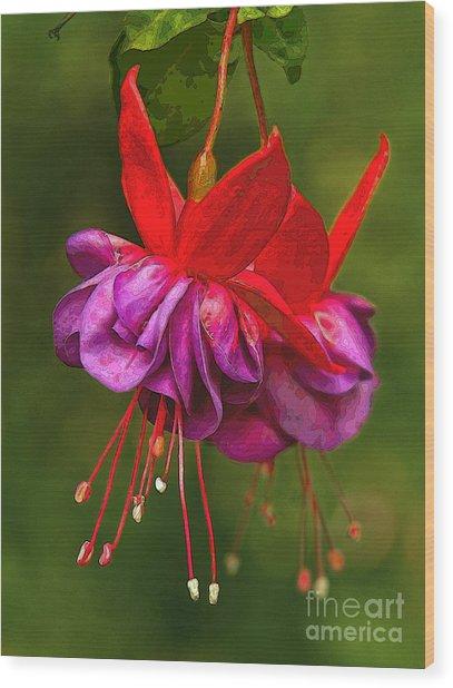 Redpurple Flower Wood Print