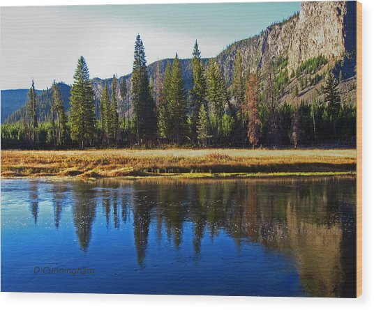 Reflection In The Rocky Mountains Wood Print