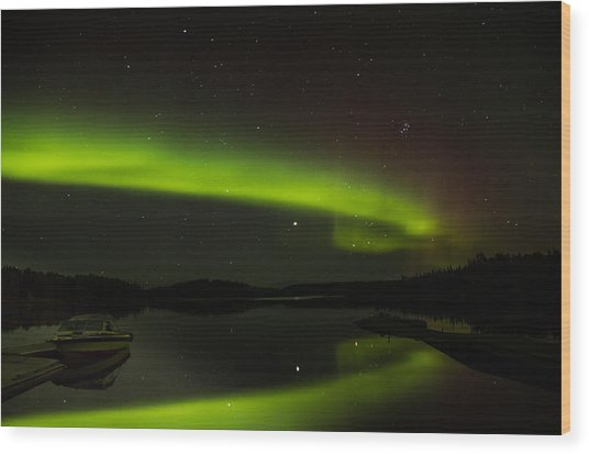 Reflection On A Lake Wood Print