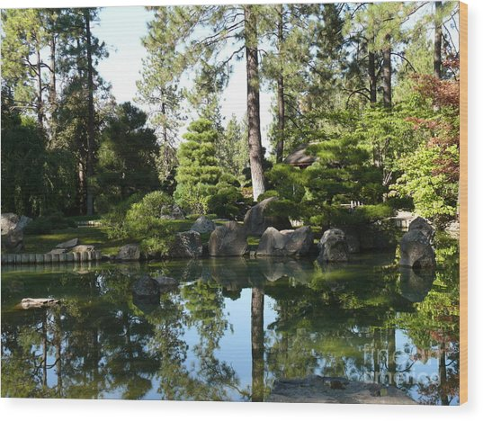 Reflections In A Japanese Garden Wood Print