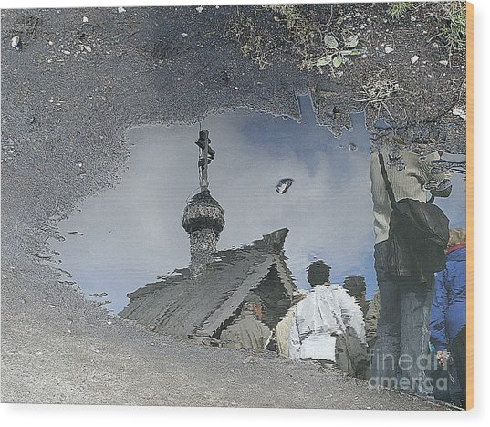 Reflections In A Rain Puddle Wood Print