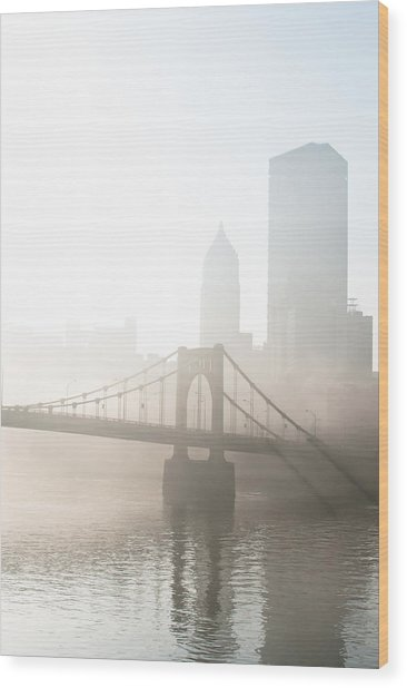 Reflections Of Industry Wood Print by Jason Heckman