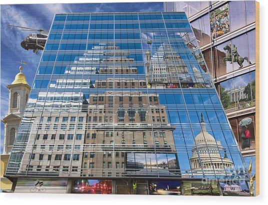 Reflections On Washington Wood Print