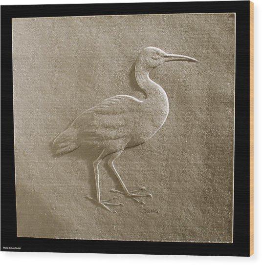 Relief Bird On Paper Wood Print