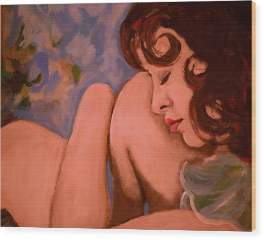 Resting Girl Wood Print by Adam Kissel
