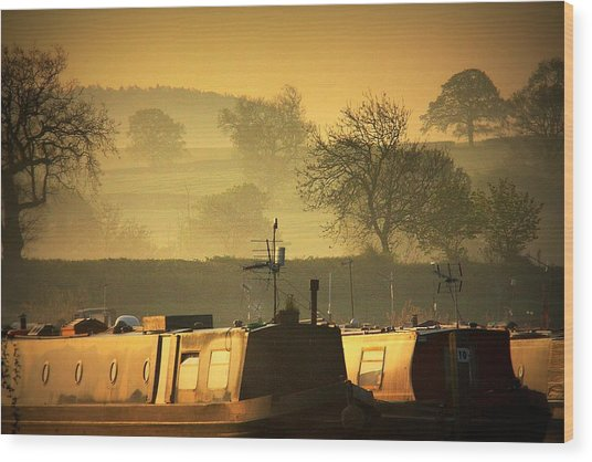 Resting Narrowboats Wood Print