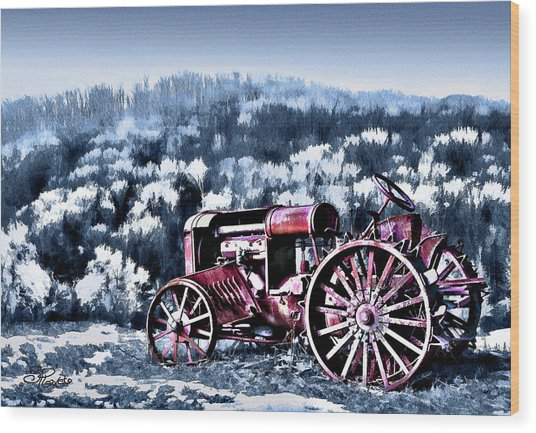 Retired Tractor Wood Print by Suni Roveto