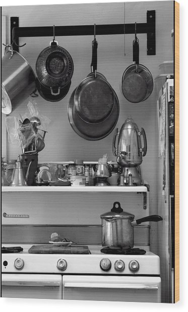 Retro Kitchen Wood Print