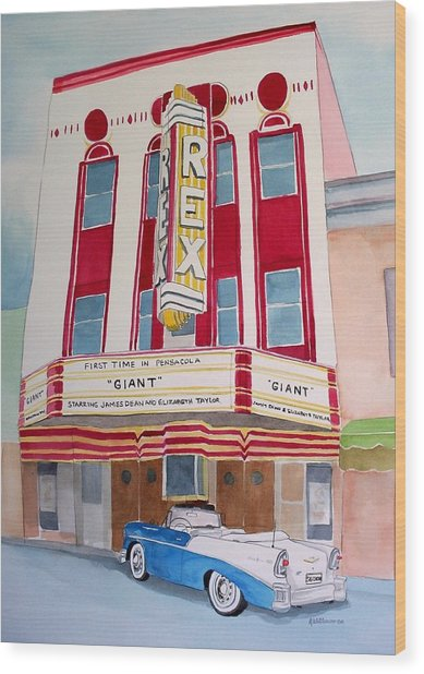 Rex Theater Wood Print