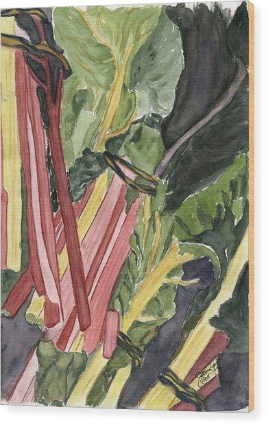 Rhubarb Study Wood Print