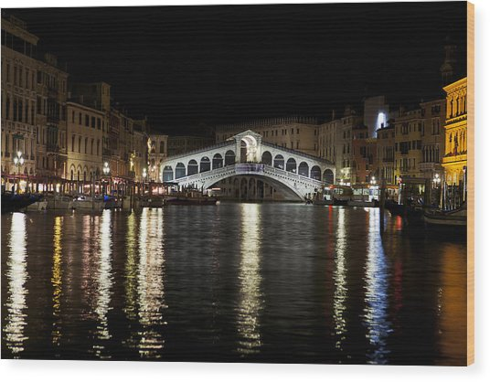 Rialto Bridge At Night Wood Print