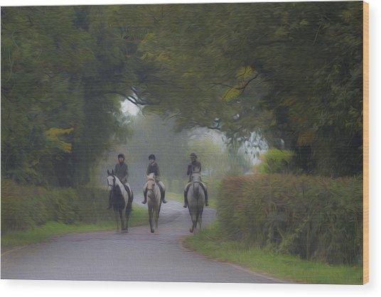 Riding In Tandem Wood Print