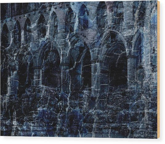 Rievaulx In The Crack Of Night Wood Print by Jen White