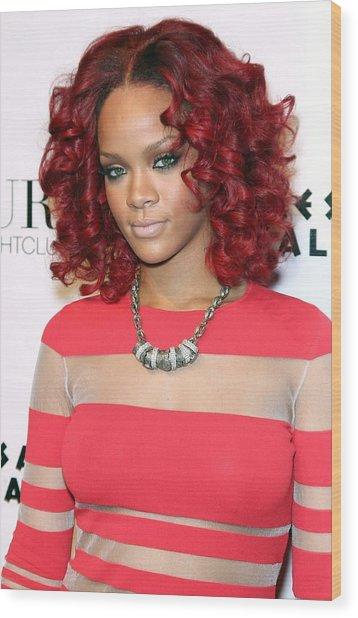 Rihanna In Attendance For Rihanna New Wood Print by Everett