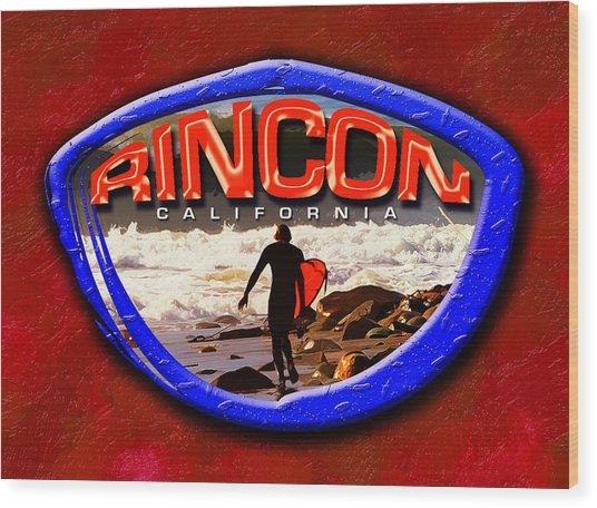 Rincon Logo Wood Print by Ron Regalado