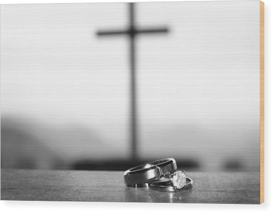 Rings And Cross Wood Print