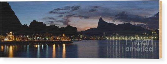 Rio Skyline From Urca Wood Print