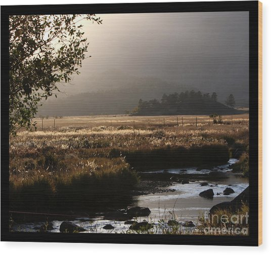 River Sunset With Border Wood Print