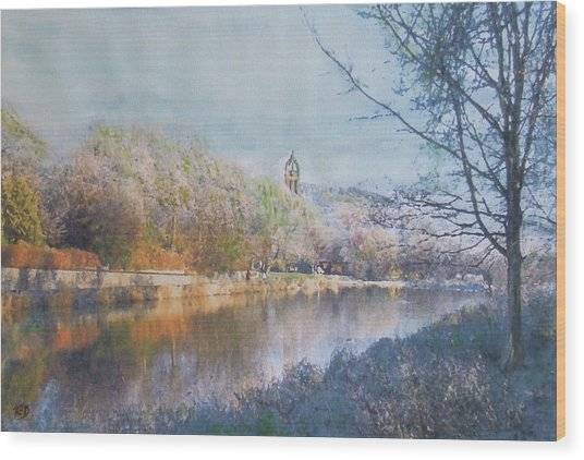 River Walk Reflections Peebles Wood Print