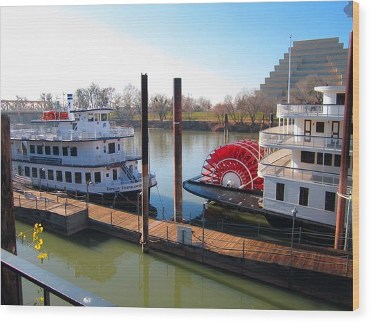 Riverboats Wood Print by Barry Jones