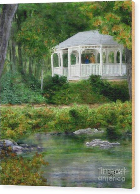 Riverside Gazebo Wood Print by Judy Filarecki