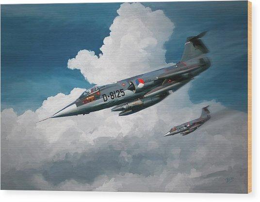 Rnlaf Lockheed F104 Starfighters On Training Wood Print