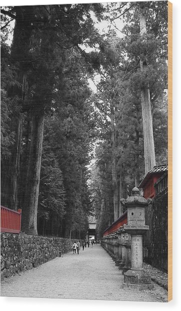 Road To The Temple Wood Print by Naxart Studio