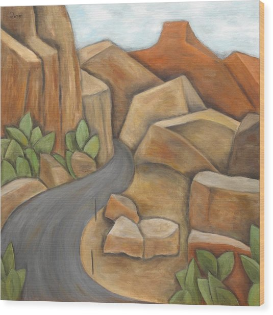 Road To Zion Wood Print