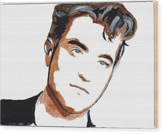 Robert Pattinson 22 Wood Print by Audrey Pollitt