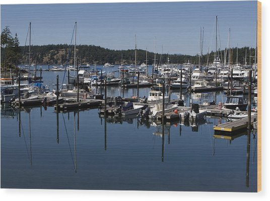 Roche Harbor Reflected Wood Print