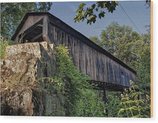 Rock Creek Road Covered Bridge Wood Print