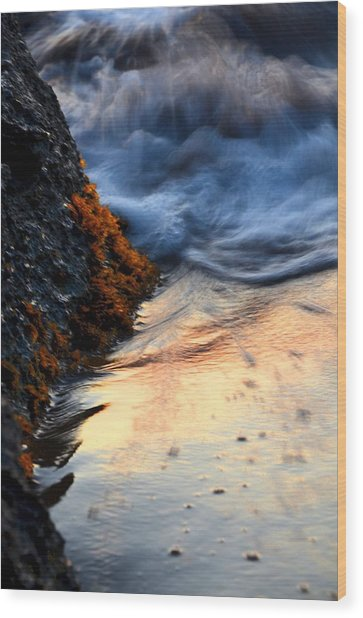 Rock Sunset Wood Print
