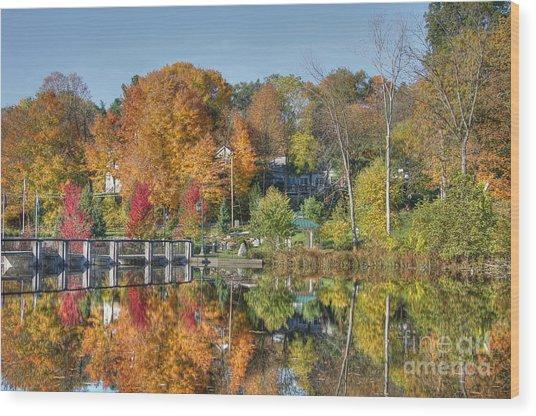 Rockford Michigan In Fall Wood Print by Robert Pearson