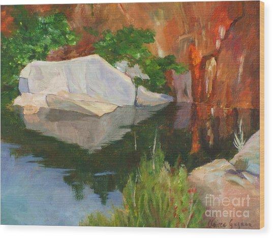 Rockport Quarry Reflection Wood Print