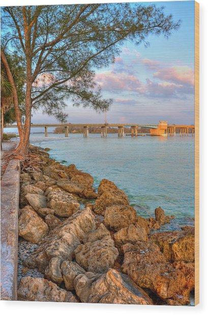 Rocks And Water Longboat Pass Bridge Wood Print by Jenny Ellen Photography