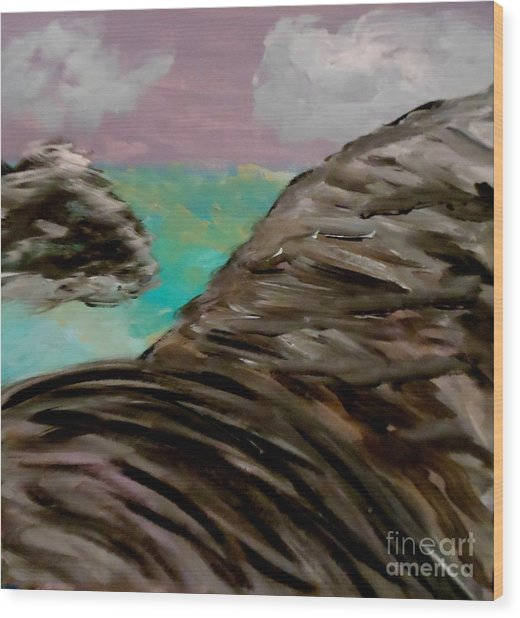Rocks And Water Wood Print by Marie Bulger